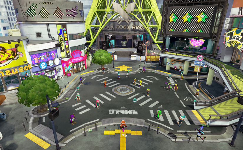 Inkopolis Plaza, the central hub for everything in the game.
